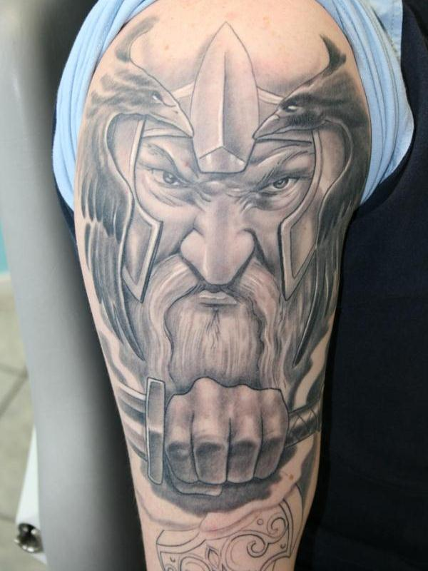 Cool Grey Ink Viking Tattoo On Right Half Sleeve