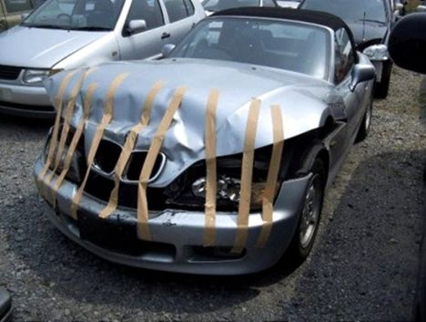 Crashed Car Fixed Duct Tape Funny Picture
