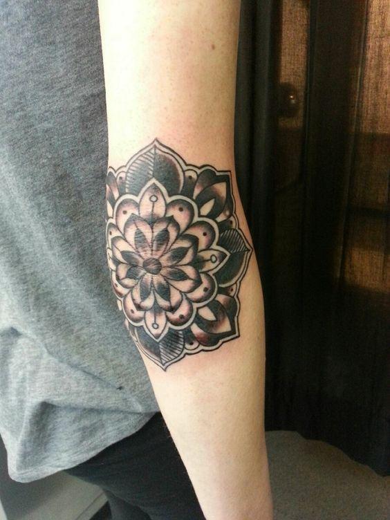 Fantastic Mandala Flower Tattoo On Right Elbow