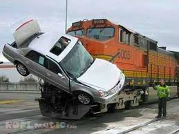 Funny Car Crashed With Train Image For Whatsapp