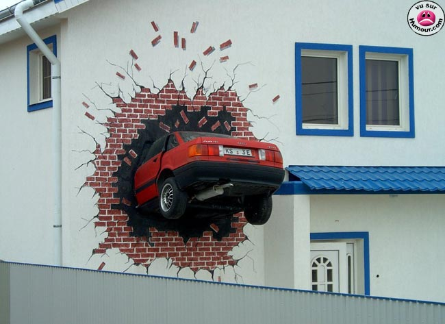 Funny Car Crash With Home Image