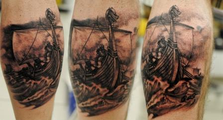 8 black and grey ink viking ship tattoos. Black Bedroom Furniture Sets. Home Design Ideas