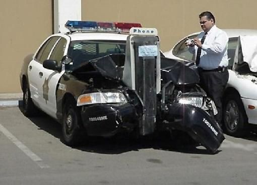 Police Car Crash Funny Picture
