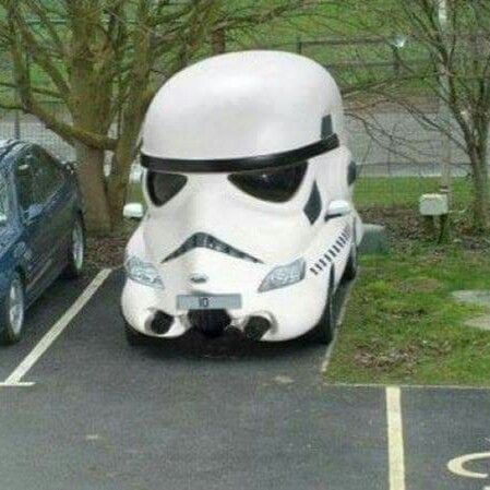 Stormtrooper Face Shape Funny Looking Car Image