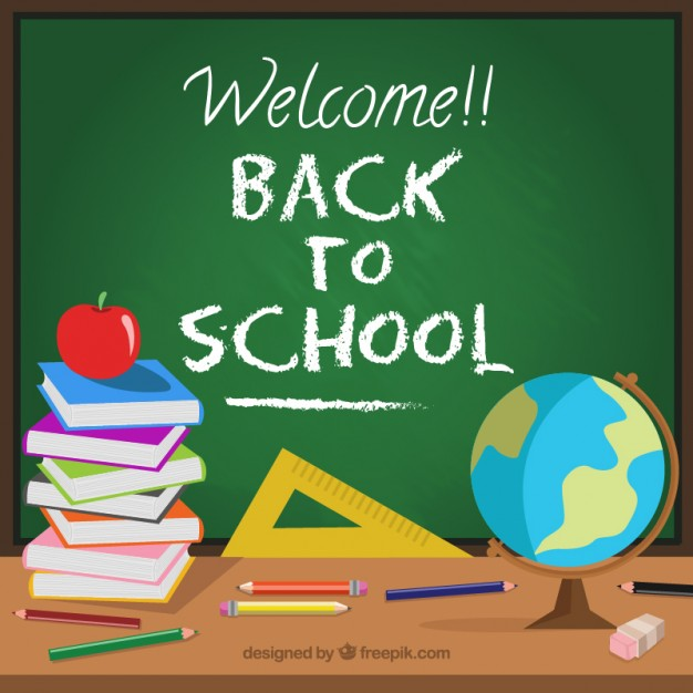Welcome Back To School Books Earth Globe And Apple