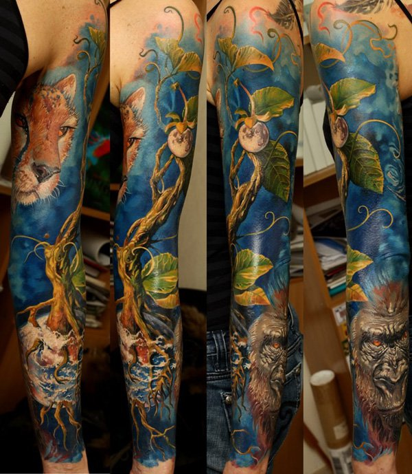 a5a18f15c Amazing Colored Fantasy Tattoo On Sleeve