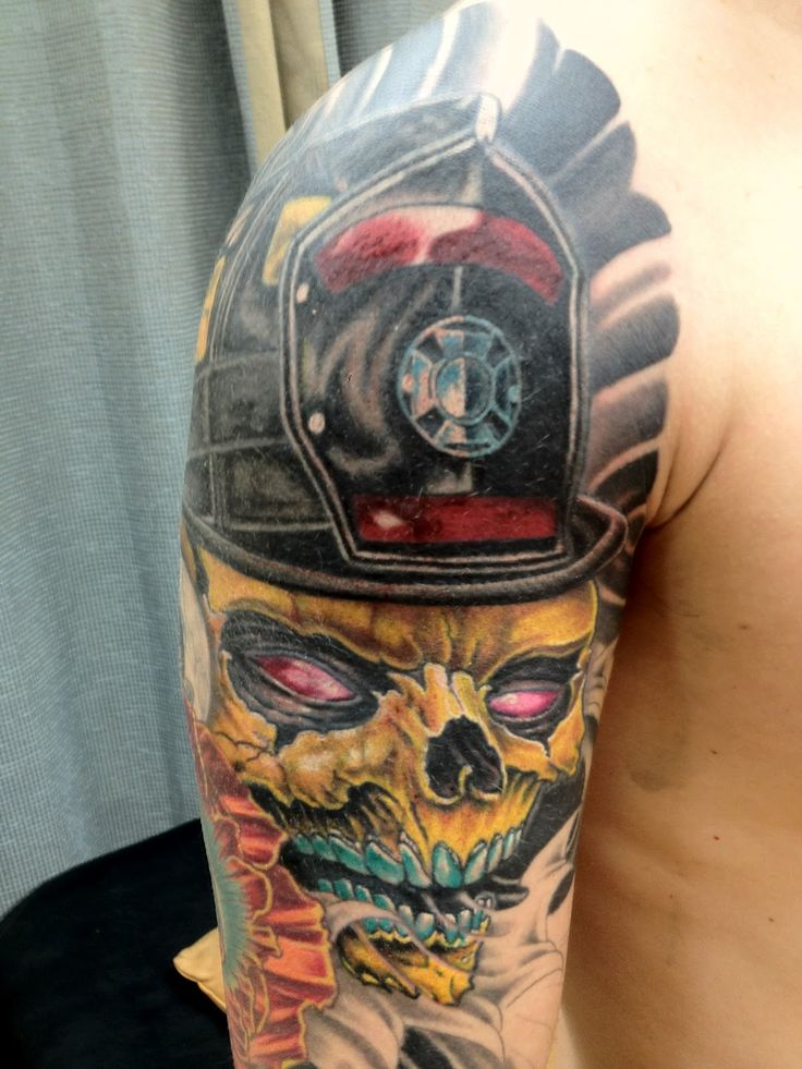 98772c98c Amazing Colorful Skull Tattoo On Man Right Half Sleeve · Awesome Grey Ink  Firefighter ...