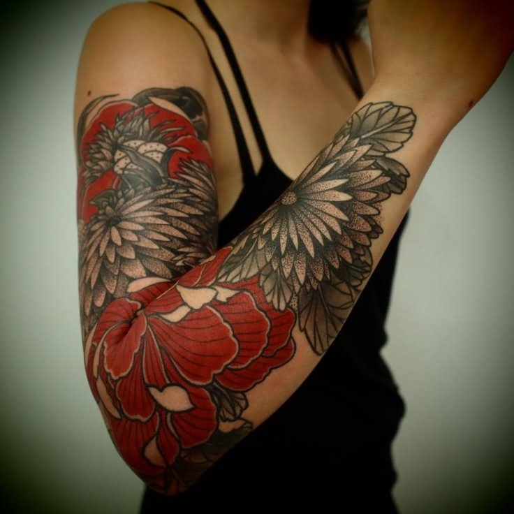 Amazing Red And Black Floral Tattoo On Girl Right Full Sleeve By Krystal
