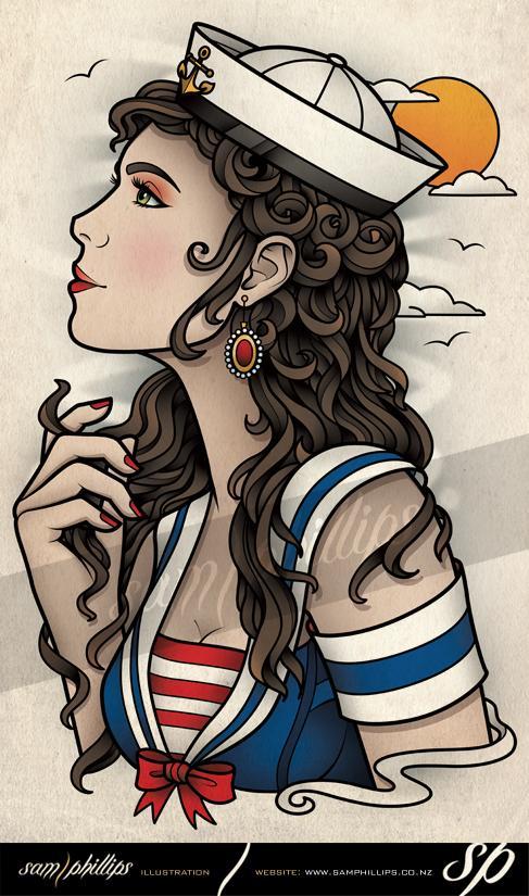 34 beautiful sailor tattoo designs and ideas. Black Bedroom Furniture Sets. Home Design Ideas