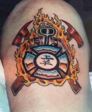 attractive firefighter logo tattoo design for shoulder. Black Bedroom Furniture Sets. Home Design Ideas