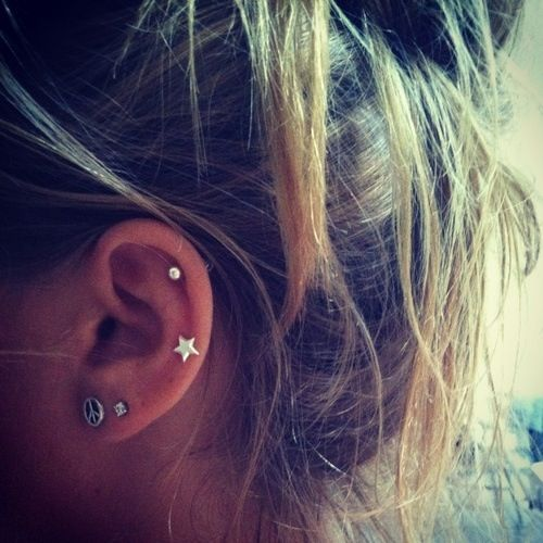 Auricle Piercing With Star Stud On Left Ear