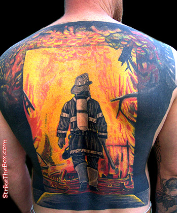 568d846d4 Awesome Firefighter Tattoo On Man Full Back