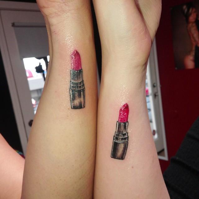 Beautiful Lipstick Tattoos On Couple Wrists