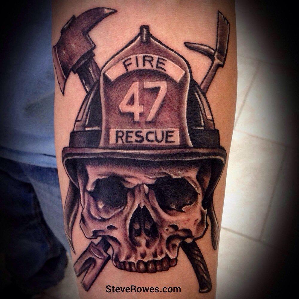 Firefighter helmet tattoos