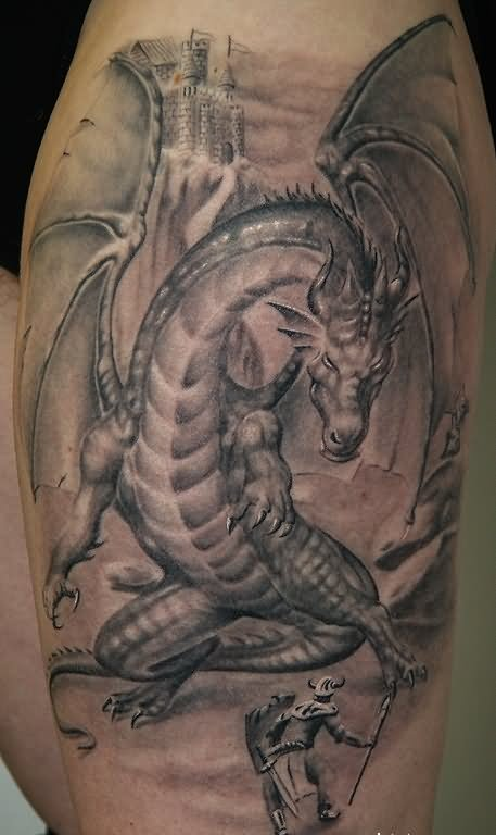 40 fantasy dragon tattoos designs images and ideas for Dragon tattoos on thigh