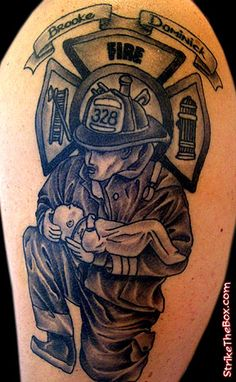 664e9b5c4 Black And Grey Firefighter With Firefighter Symbol Tattoo Design For Half  Sleeve