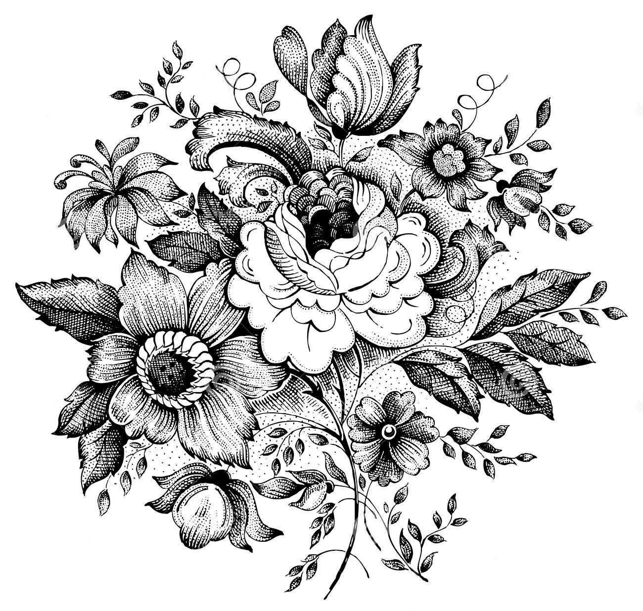 Floral Tattoo Images Designs: 15+ Black And White Floral Tattoo Designs