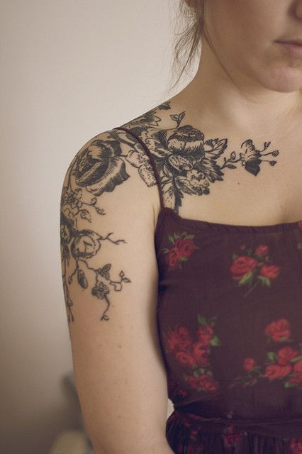 31 amazing black and white floral tattoos for Black girl tattoos