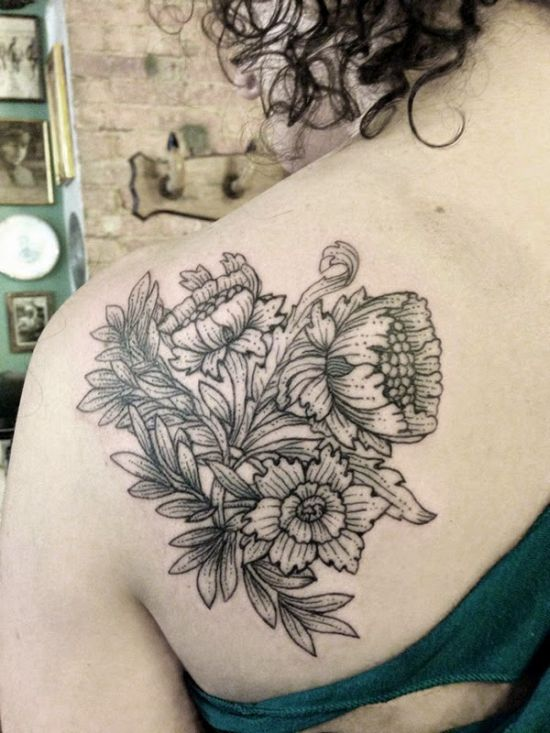 31 amazing black and white floral tattoos black and white floral tattoo on left back shoulder by sue jeiven mightylinksfo Image collections