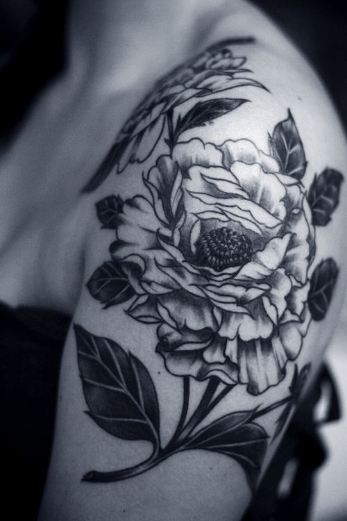 31 amazing black and white floral tattoos. Black Bedroom Furniture Sets. Home Design Ideas