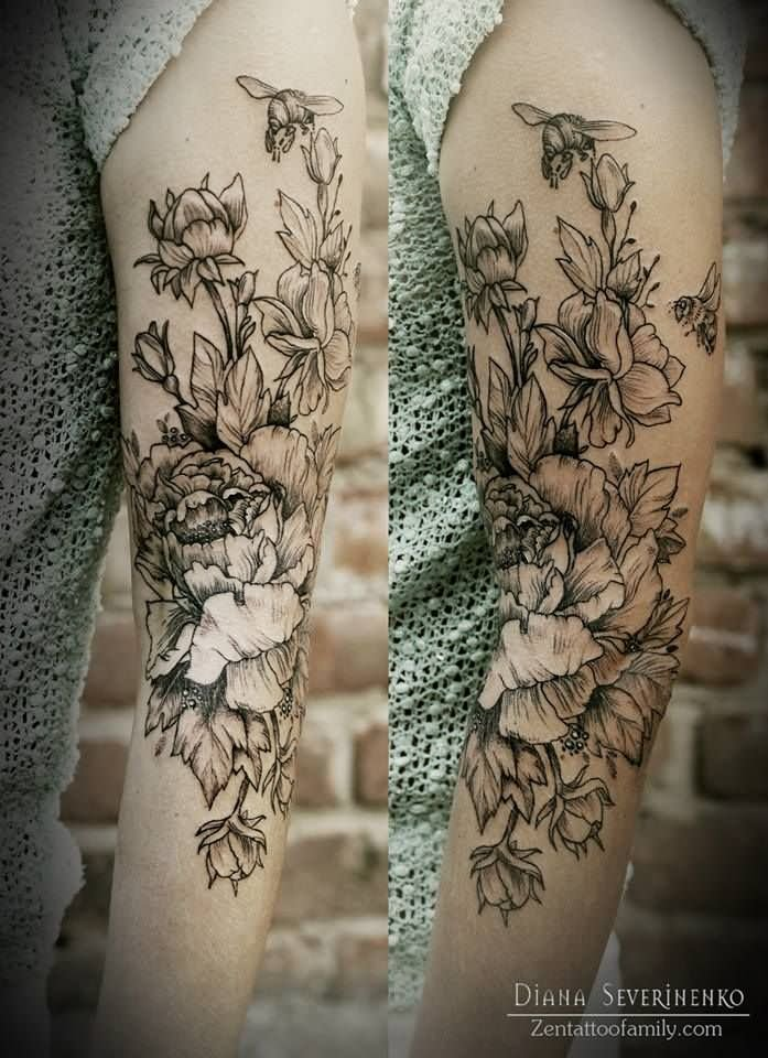 sleeve tattoos floral - photo #22