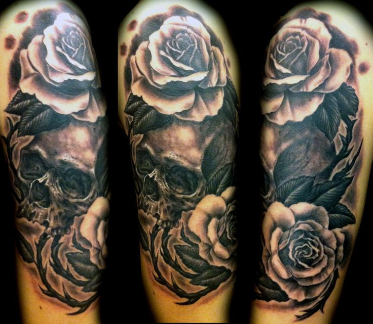 31 amazing black and white floral tattoos for Roses sleeve tattoos