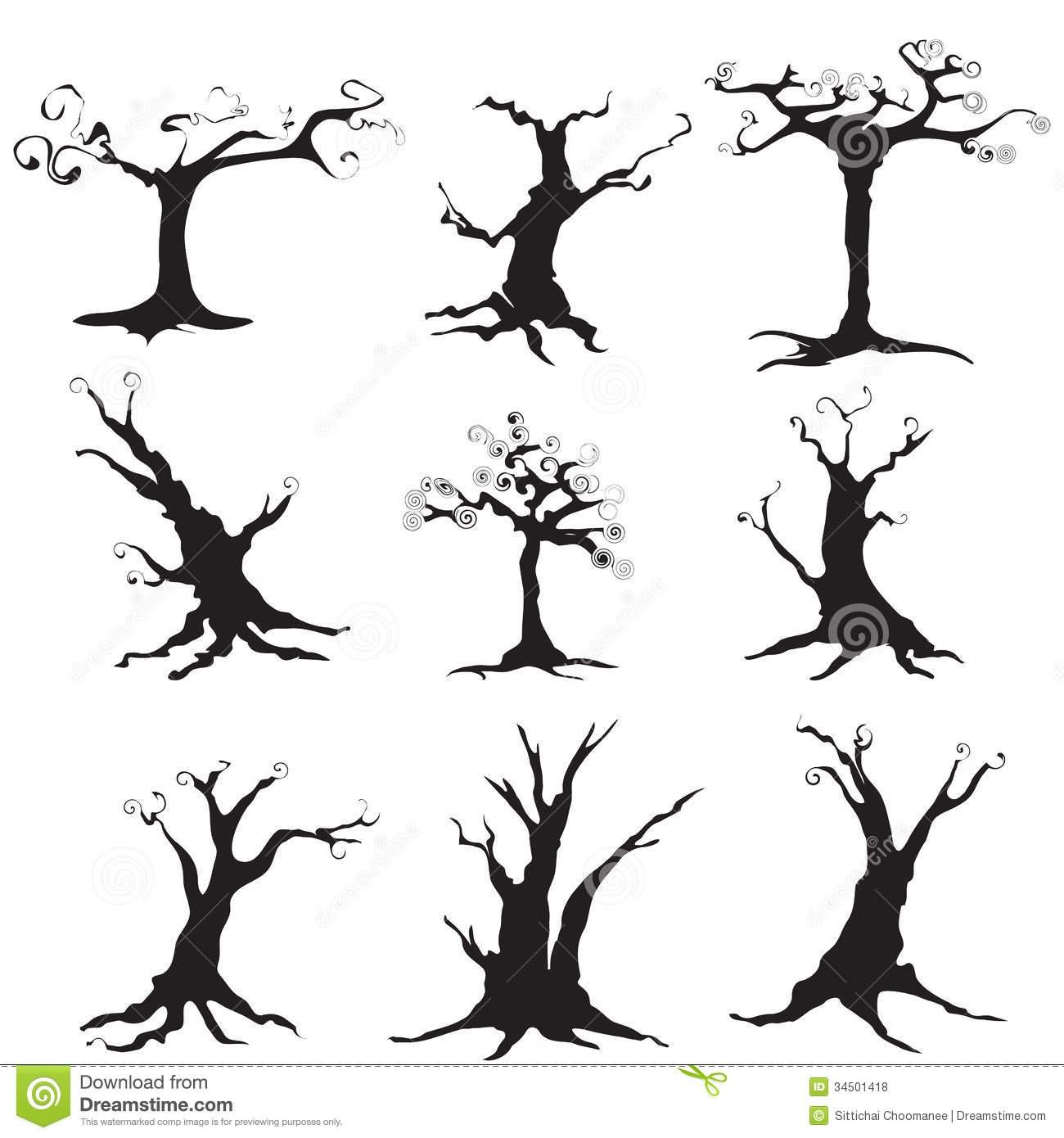 black halloween tree tattoo flash - Black Halloween Tree