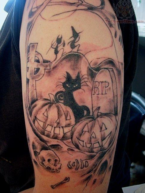 1986732680ffb Black Ink Halloween Pumpkin With Cat Tattoo Design For Half Sleeve