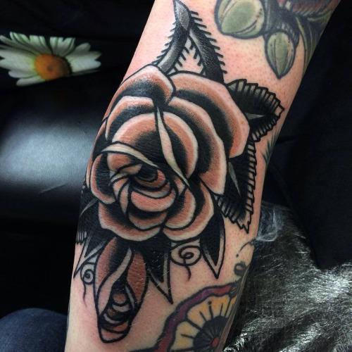 Goblet Tattoo On Forearm By Joe Ellis: 22+ Beautiful Rose Elbow Tattoos