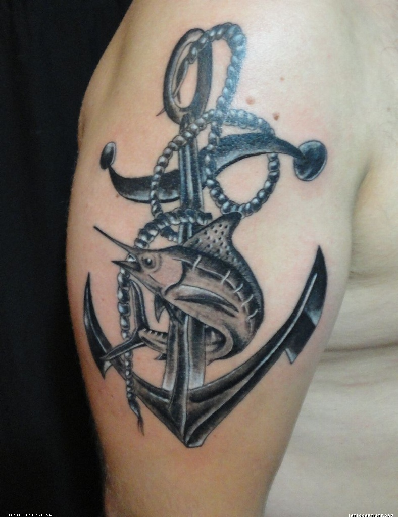 27 best sailor tattoos for Black anchor tattoo la