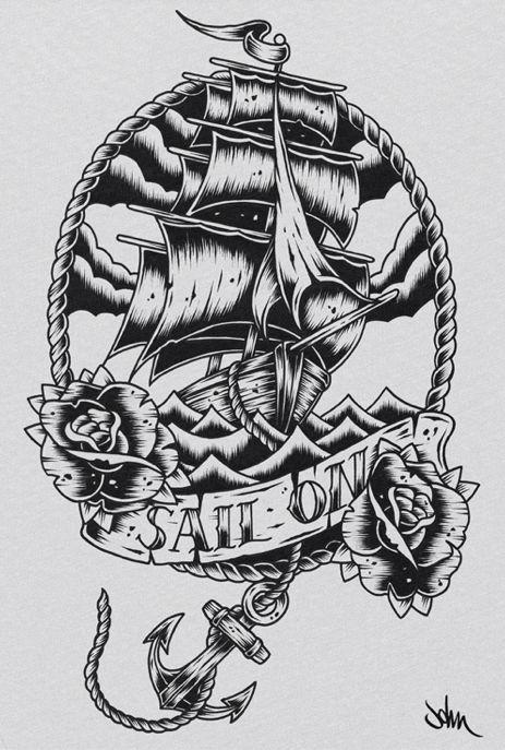 Viking Ship Tattoo Art