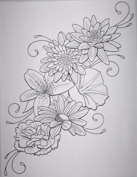 Tattoo Outlines Flowers Black And White: 22+ Floral Tattoos For Men