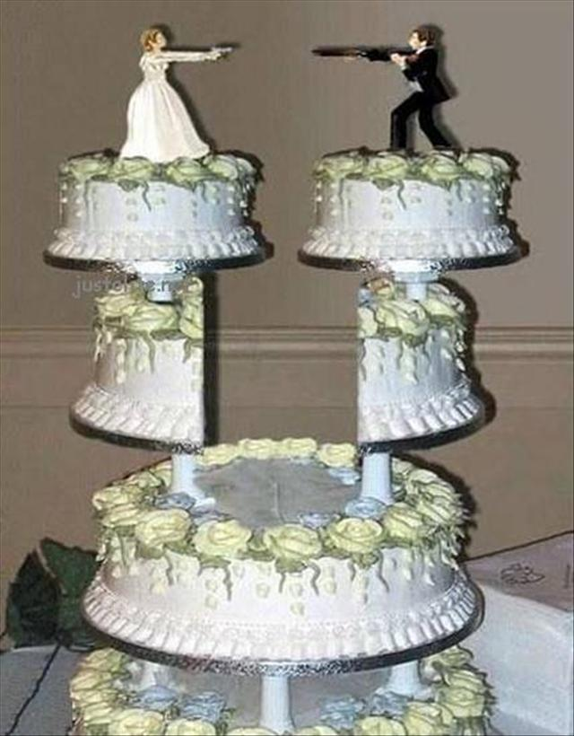 Bride and groom shooting each other funny wedding cake image junglespirit Images