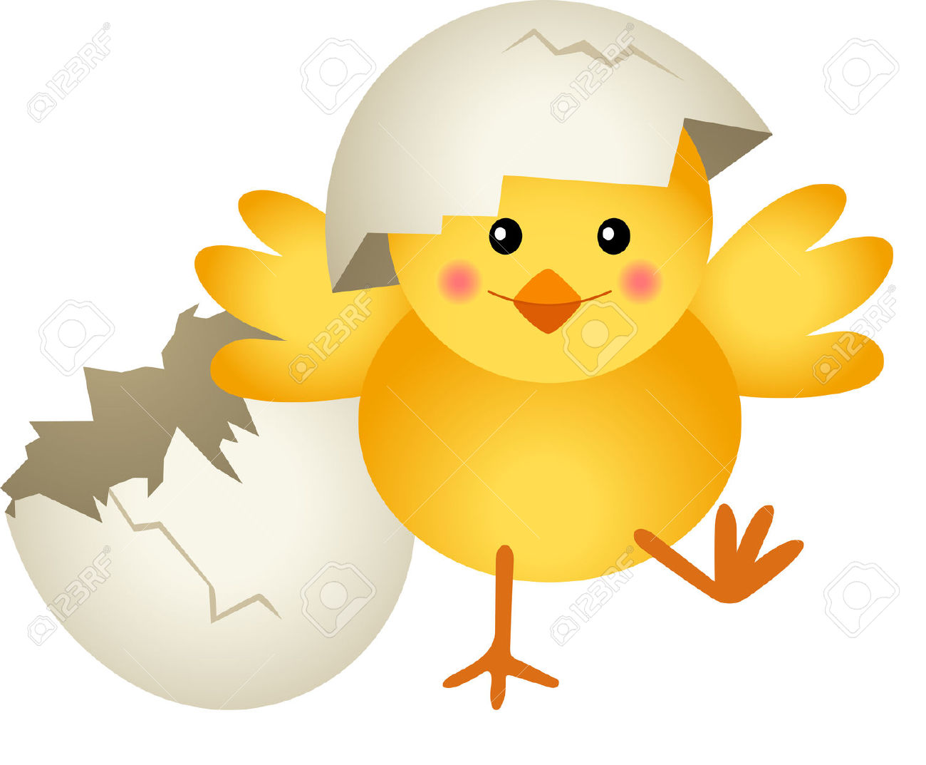 Chicken Leaving Cracked Egg Funny Clipart Image