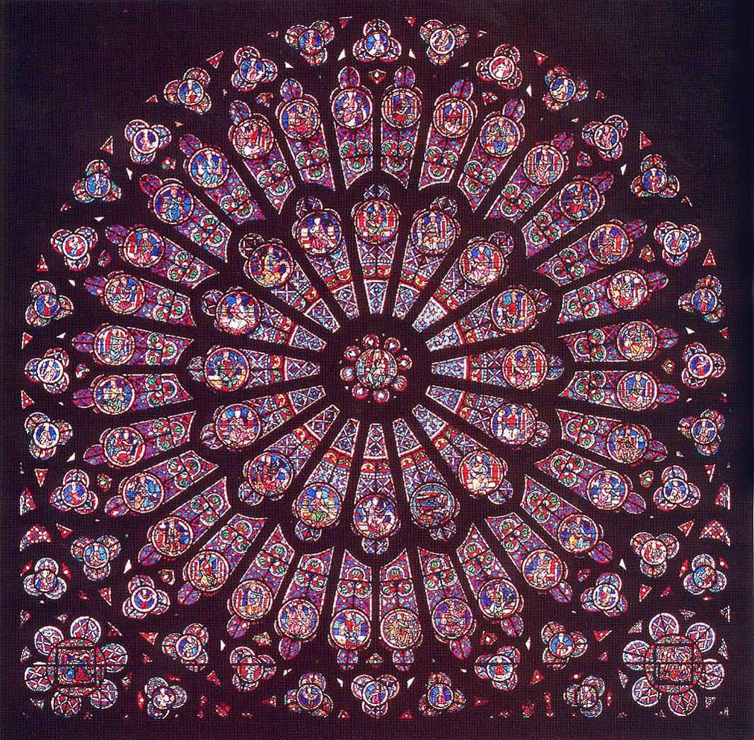 Close up of beautiful rose window notre dame de paris