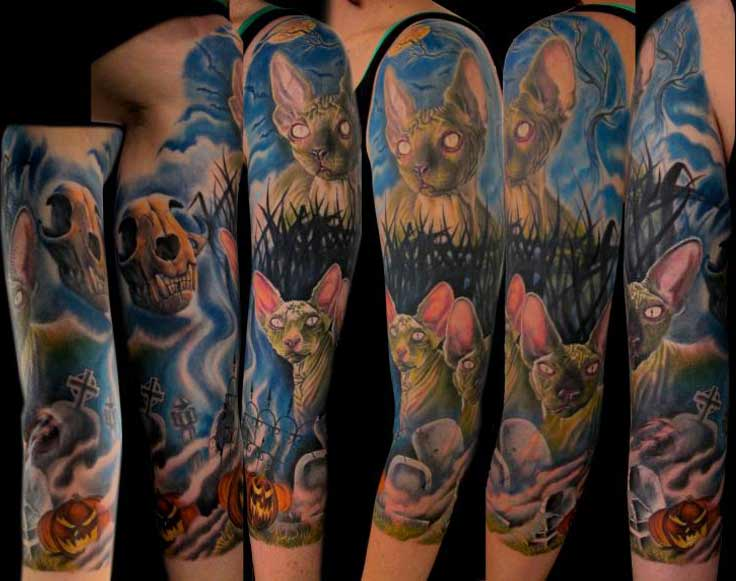 a6cf91191 Color Ink Cat Fantasy Tattoo On Half Sleeve