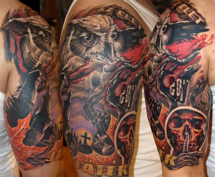4654a94be Color Ink Right Half Sleeve Fantasy Tattoo by Dark Art