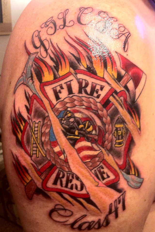 realistic firefighter tattoo on right back shoulder. Black Bedroom Furniture Sets. Home Design Ideas