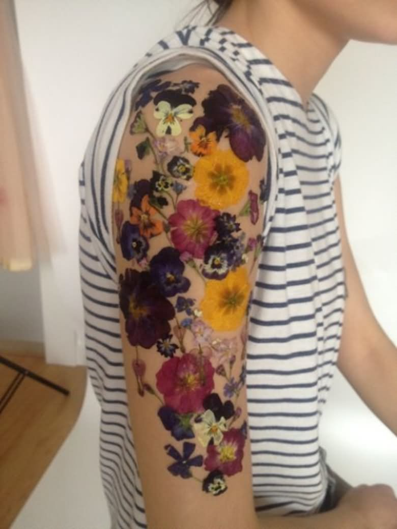 16 floral tattoos on sleeve for men for Flower arm tattoos