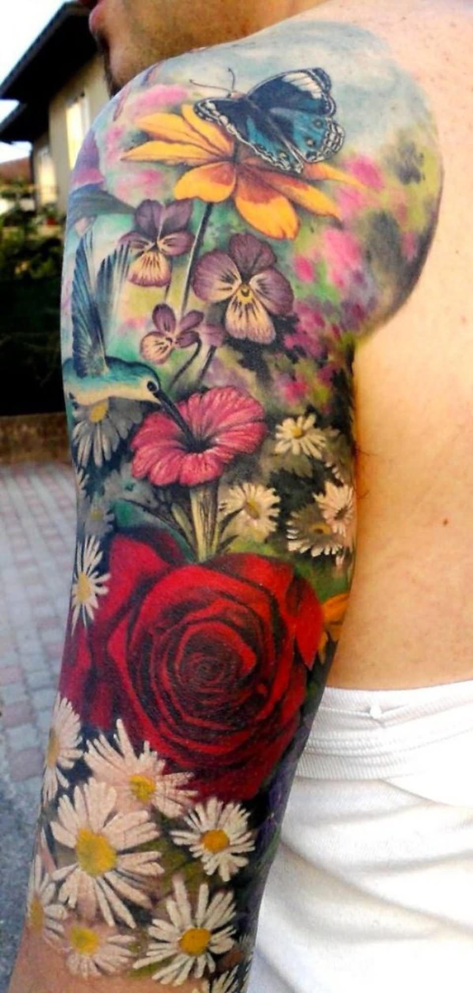 16 floral tattoos on sleeve for men. Black Bedroom Furniture Sets. Home Design Ideas
