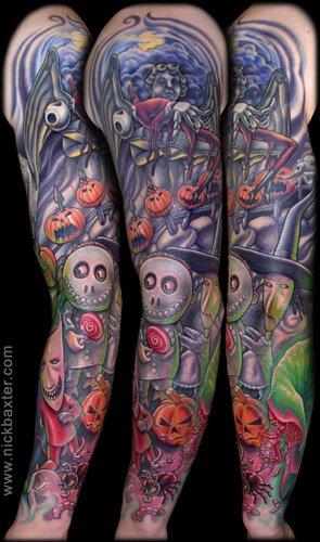 a337a83e5317e Colorful Halloween Dolls And Pumpkin Tattoo On Full Sleeve