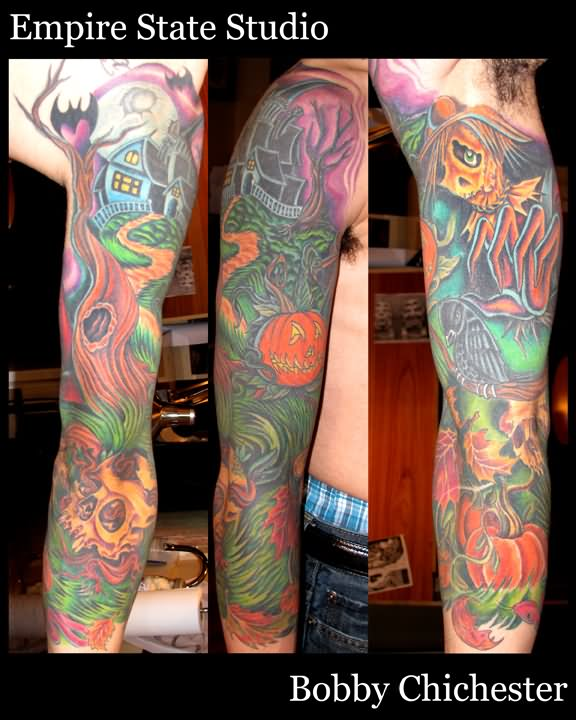 78482542f44ba Colorful Halloween House With Tree And Pumpkin Tattoo On Full Sleeve