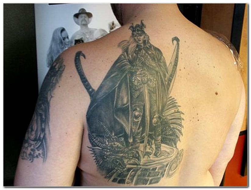 beautiful fantasy tattoo on back shoulder. Black Bedroom Furniture Sets. Home Design Ideas