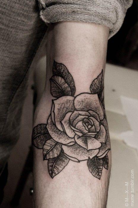 22 Beautiful Rose Elbow Tattoos