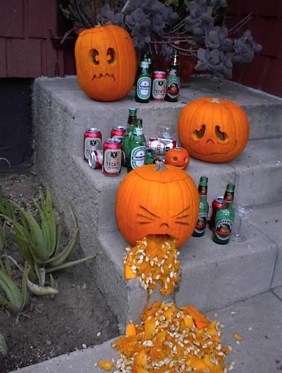 drunk pumpkins vomiting funny halloween image