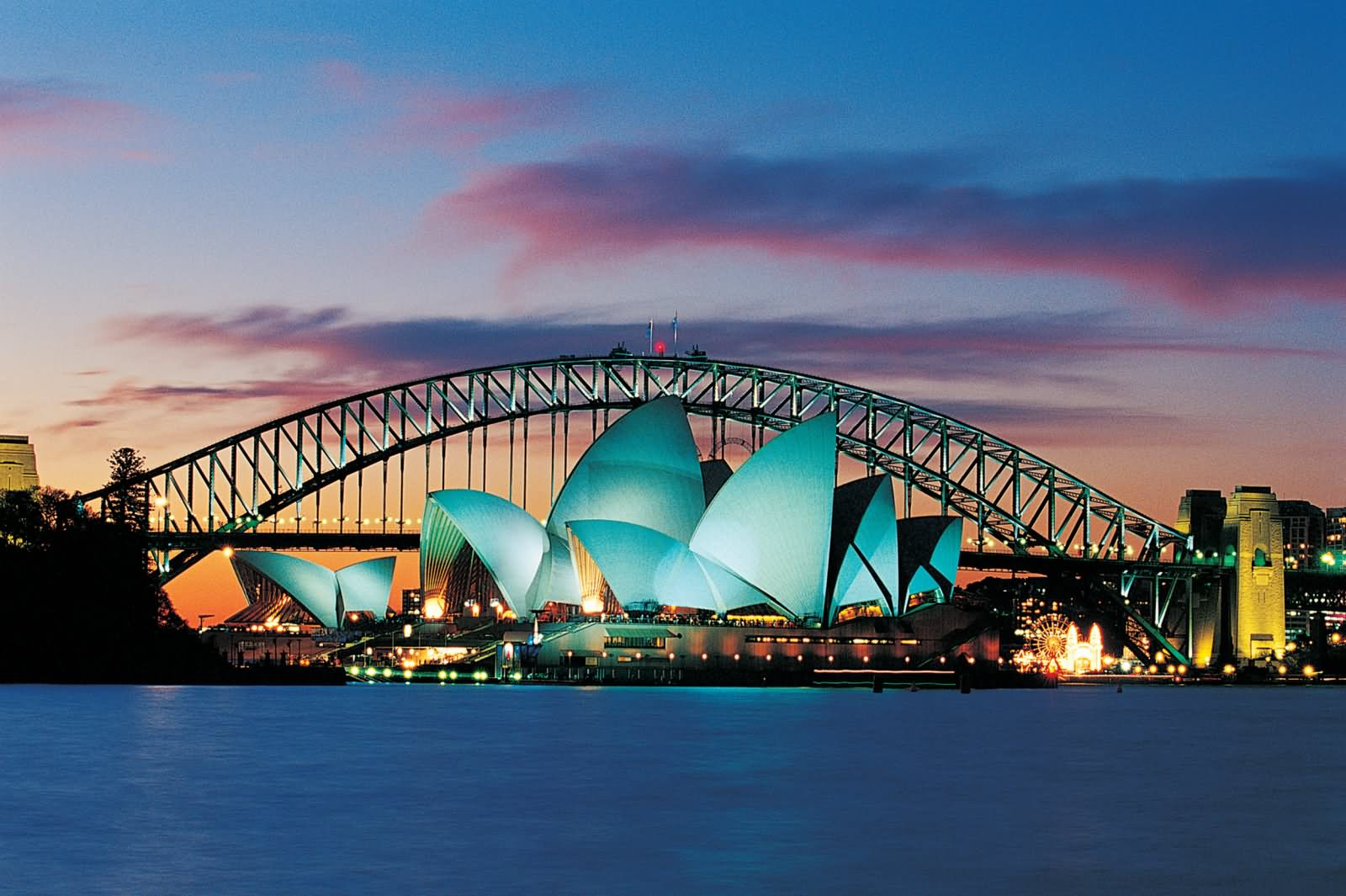 Evening View Of Sydney Opera House And Harbour Bridge - View Pictures Of Sydney Australia Opera House  Pics