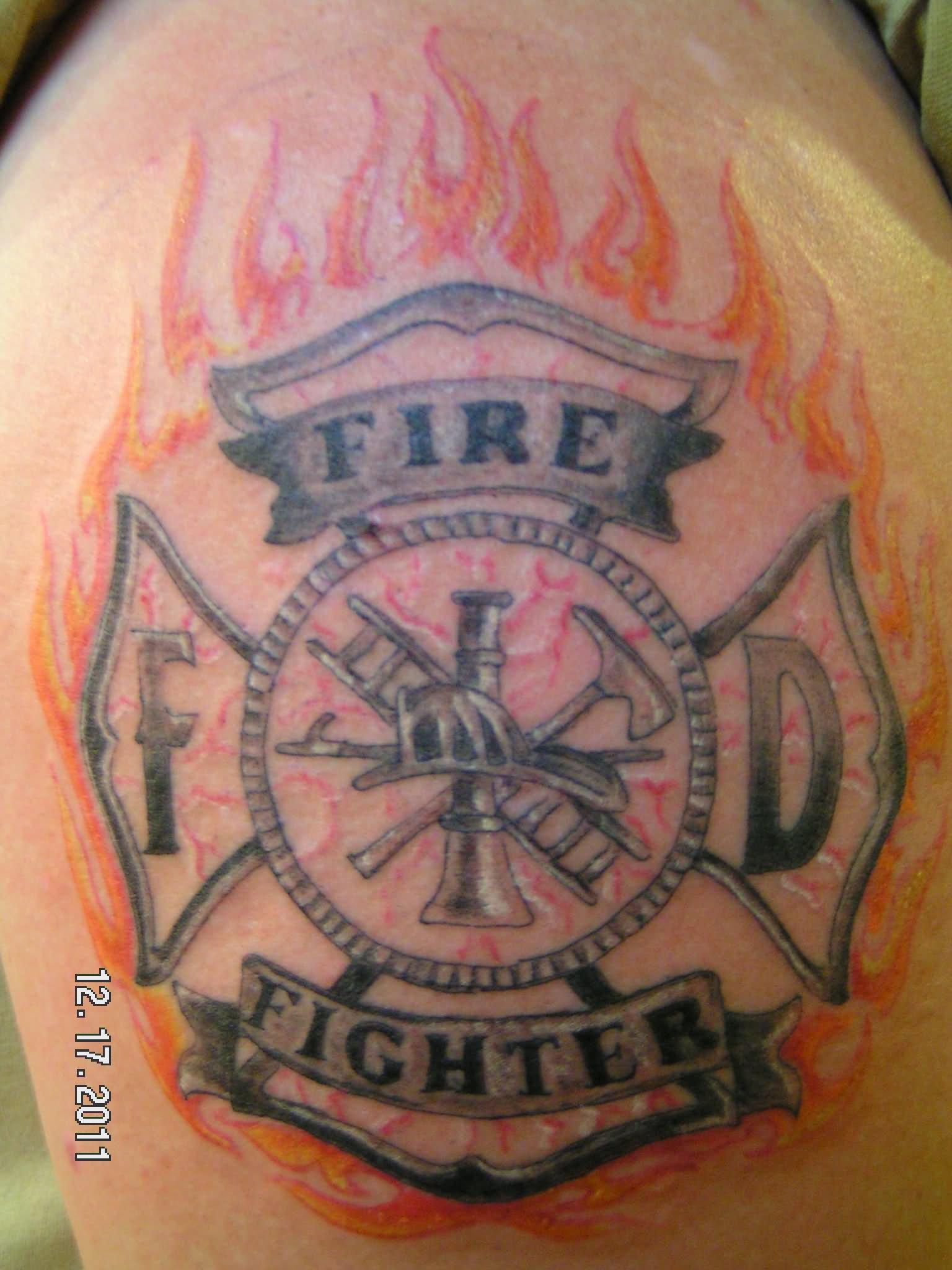 22 unique firefighter cross tattoos. Black Bedroom Furniture Sets. Home Design Ideas