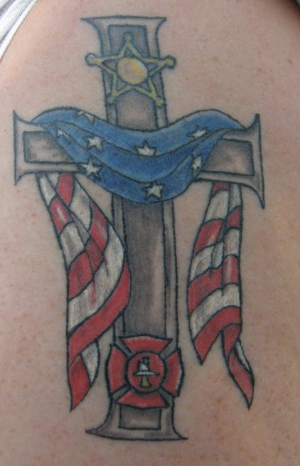 22 unique firefighter cross tattoos. Black Bedroom Furniture Sets. Home Design Ideas