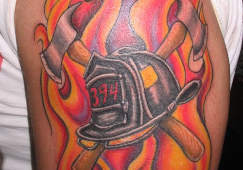 563abbfa6 Firefighter Helmet With Two Crossing Axe Tattoo Design