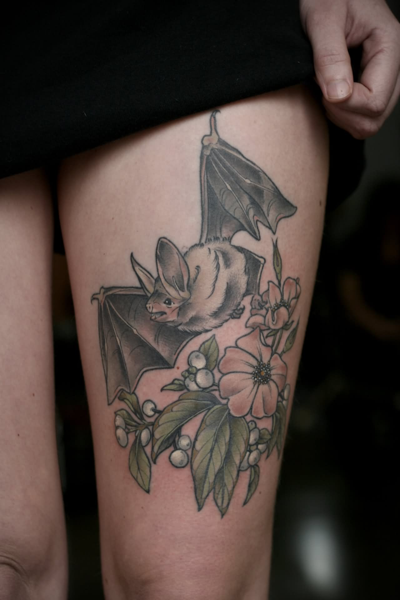 Floral With Bat Tattoo Design For Thigh
